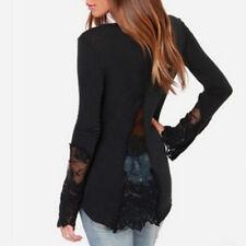 Plus Size Women Blouse Tops V Neck Patchwork Lace Long Sleeve Shirt Black XXL