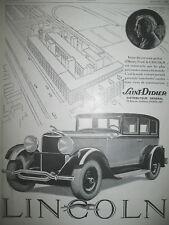 PUBLICITE DE PRESSE LINCOLN AUTOMOBILE USINES HENRY FORD FRENCH AD 1930