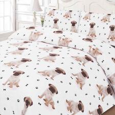 Dreamscene Pug Duvet Cover Pillow Case SINGLE Size Bedding Set White Dog Print