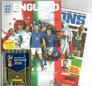 England v Italy Programme 27th March 2018 with Panini sticker & Lions Pull Out