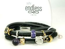 "ENDLESS Black 3 String Double Wrap Sterling Silver 8 Charm Bracelet 7"""