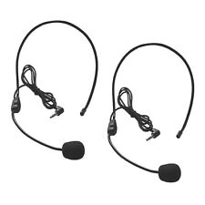 2x Universal 3.5mm Mono Headset w/ Boom Mic for Cellphone Office Skype Guide