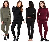 NEW WOMENS SOFT MARL KNITTED TRACKSUIT PANTS SWEATER TOP LADIES LOUNGE WEAR SET