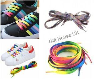 Rainbow Shoe Laces Flat Boot Laces Funky Football Skate Trainer Funky Laces B3