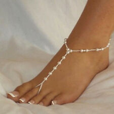 Pair of Pearl Beads Barefoot Beach Sandals Wedding Anklet Toe Foot Jewelry 2PCS