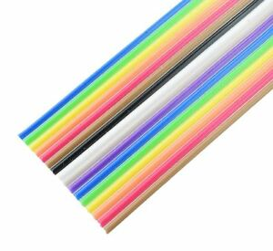 10 14 16 20 26 34 40 Way Multi Coloured Flat Ribbon Cable Wire 28AWG