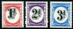 HERRICKSTAMP SOUTH WEST AFRICA Sc.# J91-93 1959 Fresh Postage Dues Mint NH