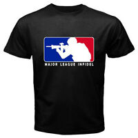 Major League Infidel Military USMC Marines Special Ops Black T-Shirt Size S-3XL