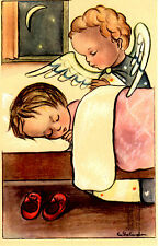 "Vintage Netherlands Postcard Sleeping Young Girl & an Angel 3.5"" x 5.5"""