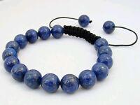 Men's Shamballa bracelet all 10mm LAPIS LAZULI STONE beads