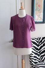 Vintage 1950s Style Purple Button Front Blouse Top Shirt Large VLV