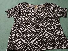 Michael Kors Chocolate Chain Neckline Blouse/Top Size Large