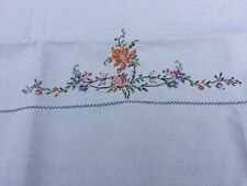 Hand Embroidered Vintage LINEN TABLECLOTH Vintage