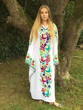 BNWT MEXICAN EMBROIDERED PEACOCK KAFTAN BUTTERFLY DRESS BEACH WEDDING ALL SIZES
