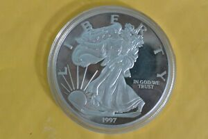 1997 Giant Proof American Silver Eagle 1/2 lb .999 Fine Silver Round