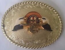 New Vtg. Harley Davidson Belt Buckle 1978 75th Anniv. Raintree-Biker Damn Proud
