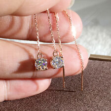 6.5mm 2.0ctw  Round Brilliant Cut Moissanite Chain Earring 14K Rose Gold Plated