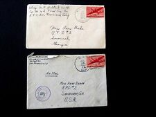 WWII Covers, 1943 (Censored) and 1945, #C25 Airmail, both w/US Navy Cancels