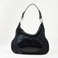 "Prada ""Nero"" Black Nylon & Patent Leather Logo Hobo Bag"