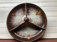 """Antique Drip Glazed ART POTTERY Divided Platter Dish """"GERMANY 1896"""" BALL HANDLE"""