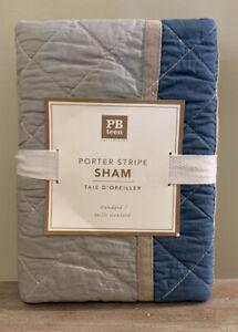 NEW Pottery Barn Teen Porter Stripe STANDARD Sham BLUE GRAY