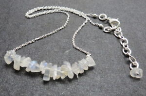 Necklace Natural Gem Stone Rainbow Moonstone Nuggets Row Silver Chain Necklace