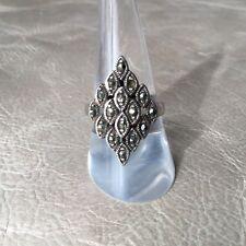 BAGUE Ancienne Art Déco en ARGENT MASSIF Marcassites Silver Ring TTD55