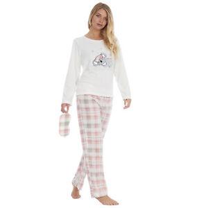 Ladies Koala Design Fleece Pyjama and Eyemask Set