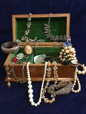 Vintage Wooden Jewellery Box Of Jewellery Some Vintage Some Possibly Silver