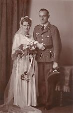 WWII German Large RPPC- Luftwaffe- Hat- Wedding- Dress- Bride- Frau- Wife- 1940s