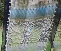 BILL BLASS Blue Sheer Silk Scarf Geometric Floral with Solid Navy Border 11 x 56