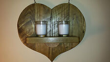 RUSTIC RECLAIMED CHUNKY WOODEN HEART WALL SCONCE / CANDLE  HOLDER. VALENTINES