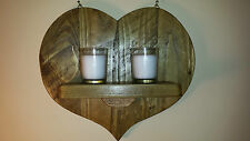 UPCYCLED RUSTIC RECLAIMED CHUNKY WOOD WALL SCONCE / CANDLE  HOLDER.