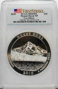 2010 .25C 5 oz .999 Silver ATB Mount Hood National Park PCGS MS69PL First Strike