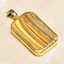 "Handmade Natural Golden Tiger's Eye Gemstone Pendant 2"" #P17293"