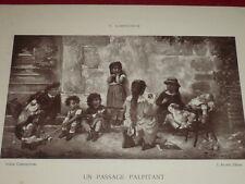 """[VINTAGE PHOTOGLYPTIE] LOBRICHON Peinture """"Enfants"""" GALERIE CONTEMPORAINE 1878"""