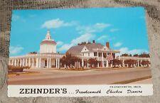 """VINTAGE 1974 POSTCARD *ZEHNDER'S* FRANKENMUTH, MI. """"CHICKEN DINNERS"""" - NEW"""