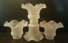 ONE PIECE Ceiling Fan Light Kit Tulip Ruffle Crimp Shade Frosted Glass Vintage