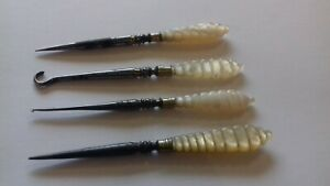 BEAUTIFUL ANTIQUE ORNATE SET OF MOTHER OF PEARL SEWING TOOLS