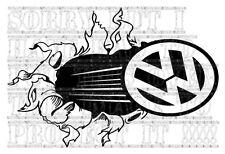 60x40CM Tear Smash Break Through VW T2 T25 T4 T5 BEETLE GOLF decal sticker vinyl