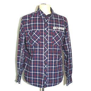 Harley Davidson Men Lg Shirt Blue Plaid Flannel Long Sleeve Button Up #V733