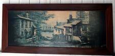 """Kevin Platt huge 46"""" vintage wooden framed print landscape street town harbour"""