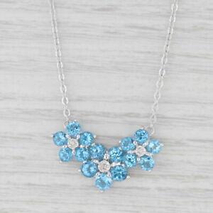 "3.60ctw Blue Topaz Diamond Flower Pendant Necklace 10k White Gold 17.75"""