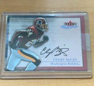 2000 Fleer Skybox Autographics Champ Bailey Signed Card Washington NFL SP