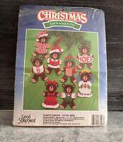 Christmas Plastic Canvas Bears Good Shepherd Holiday Ornaments Kit #88003 NOS