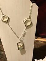 Recycled Broken Porcelain Jewelry, Bird Heart Circle Open Work Necklace