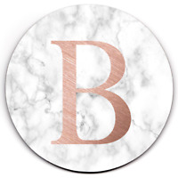 Set of 4 HD SuperClear Drink Coaster PERSONALISED Initial White Marble Y01505