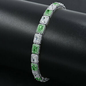 "Custom White& Green Zirconium 14K White Gold Tone Finish ""Showy"" Tennis Bracelet"