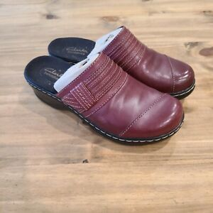 Clarks Bendables Womens Size 6.5 Burgundy Leather Slip On Mule Clogs Shoes 62759