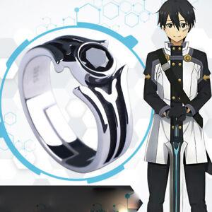 Anime Sword Art Online Kirito Cosplay Kirigaya Kazuto SAO Silver Ring Prop ring